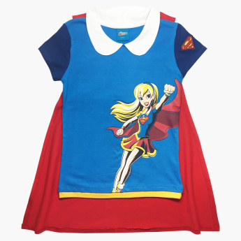Supergirl Printed Cape Top with Short Sleeves