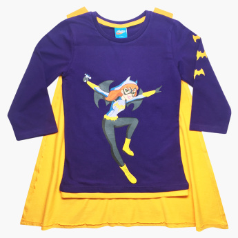 Batgirl Printed T-shirt with Long Sleeves and Cape