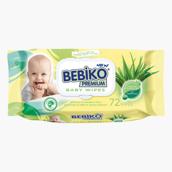 Bebiko Premium Baby 72-Piece Provitamin B5 and Alcohol Free Wipes