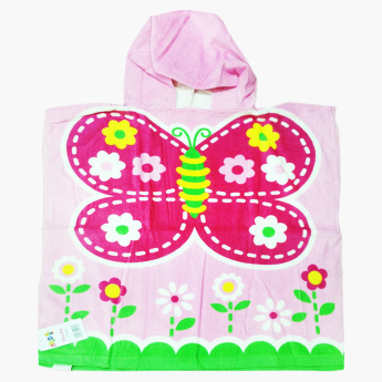 Little 1S Butterfly Printed Poncho Towel with Hood