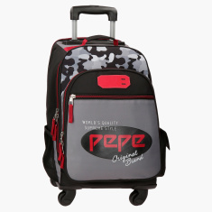 Pepe Jeans Kaim Printed Convertible Trolley Backpack