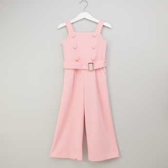 Iconic Solid Jumpsuit with Button Detail and Zip Closure