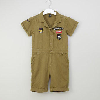 Iconic Patch Detail Boiler Suit with Snap Button Closure