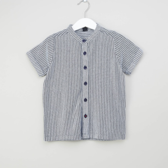 Iconic Striped Shirt with Mandarin Collar and Short Sleeves