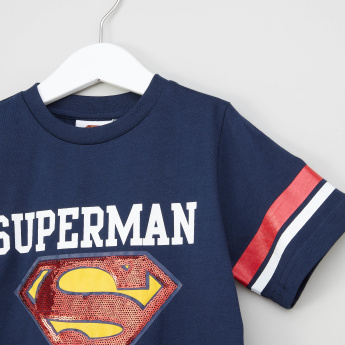 Iconic Sequin Detail Superman T-shirt with Round Neck