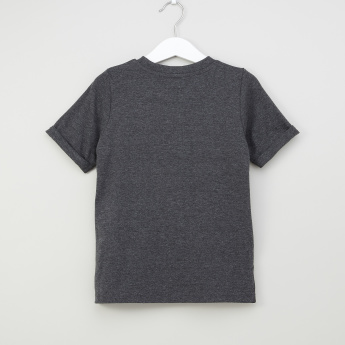 Iconic Graphic Printed T-Shirt with Round Neck and High Low Hem