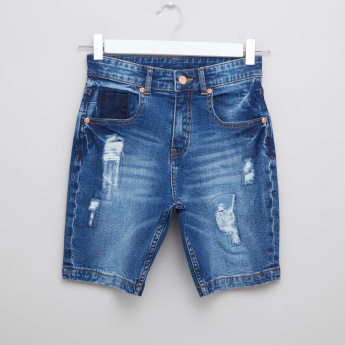 Iconic Distressed Denim Shorts with Pocket Detail