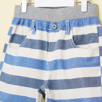 Bossini Striped Shorts with Button Closure and Pocket Detail