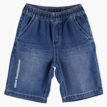 Bossini Pocket Detail Denim Shorts with Elasticised Waistband