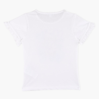 Bossini Printed Ruffle Detail Round Neck T-Shirt