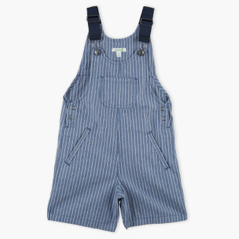 Bossini Striped Dungarees with Pocket Detail