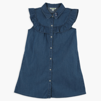 Bossini Frill Detail Denim Dress
