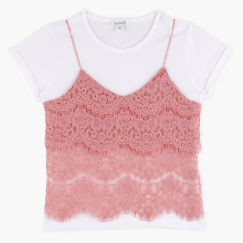 Bossini Lace Detail Camisole with Round Neck T-Shirt