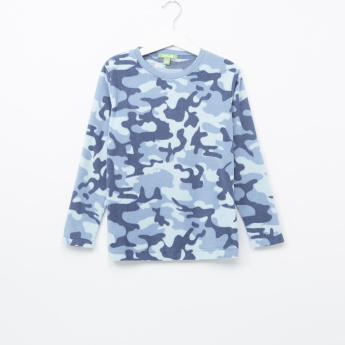 Bossini Camouflage Textured Long Sleeves T-Shirt