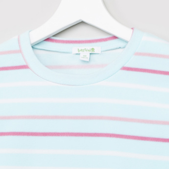 Bossini Striped Sweat Top with Round Neck and Long Sleeves
