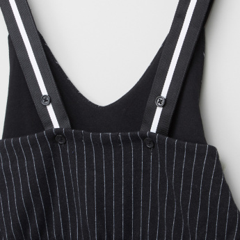 Bossini Striped Dungaree with V-Neck and Pocket Detail