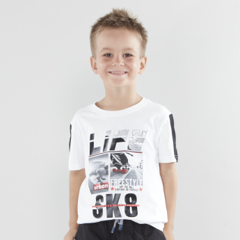 Bossini Sk8 Graphic Printed T-shirt with Round Neck and Short Sleeves