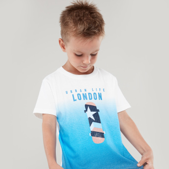 Bossini Printed T-shirt with Round Neckline and Short Sleeves
