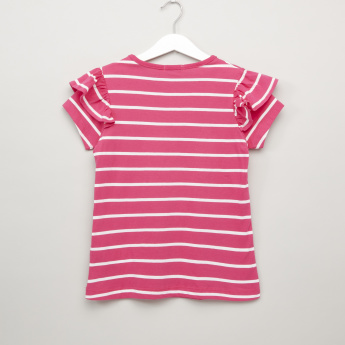 Bossini Striped Ruffle Detail Top