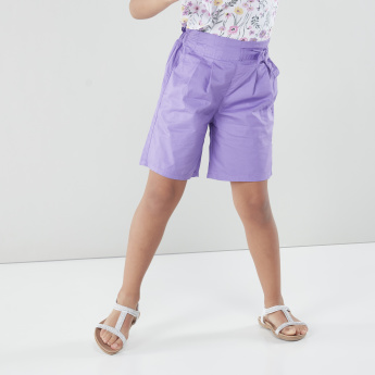 Bossini Pleated Shorts with Elasticated Waistband and Tie-Up Closure