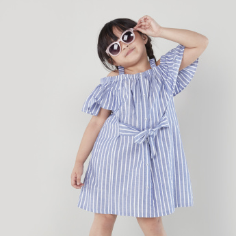 Bossini Cold-Shoulder Strappy Striped Dress with Tie-Up