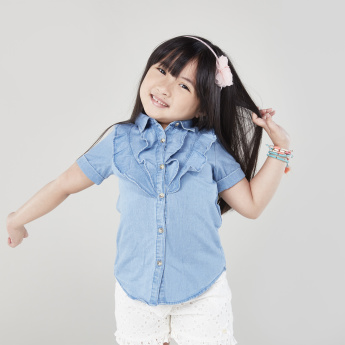 Bossini Denim Frilled Shirt with Spread Collar