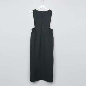 Textured V-Neck School Pinafore Dress