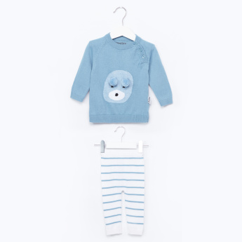 Juniors Applique Detail Sweater with Striped Jog Pants