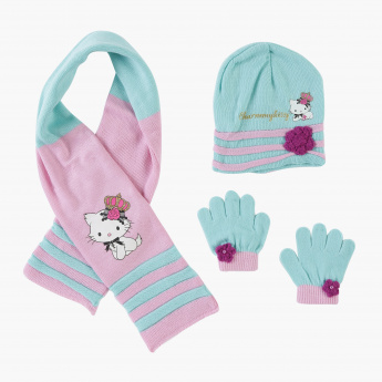 4f077dc9e Hello Kitty Printed Beanie Cap with Scarf and Gloves | Multicolour |  Accessories Set
