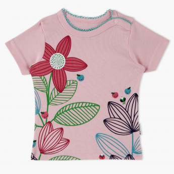 Juniors Flower Print T-Shirt with Picot Detailing