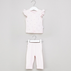 Juniors Printed Ruffle Detail Shirt and Pyjama Set