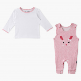Juniors T-Shirt and Printed Dungaree Set