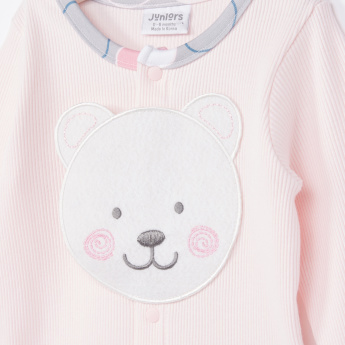 Juniors Bear Face Printed Long Sleeves T-Shirt and Pyjama Set