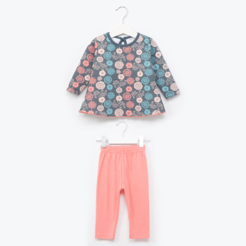 Juniors Floral Printed T-Shirt and Pants