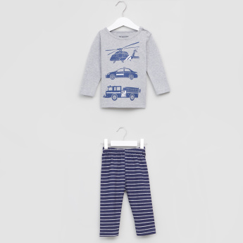 Juniors Printed Long Sleeves T-Shirt and Striped Pyjama Set