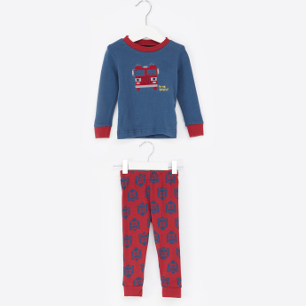 Juniors Embroidered Sweatshirt with Full Length Jog Pants