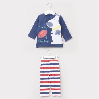 Juniors Printed T-Shirt and Full Length Pyjama Set