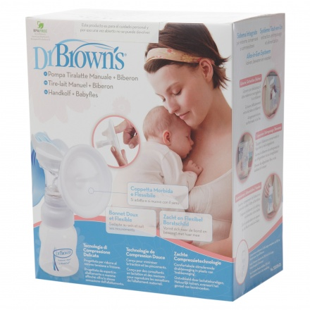 Dr. Brown's Manual Breast Pump and Wide-Neck Feeding Bottle + Free Washable Breast Pads worth AED 63