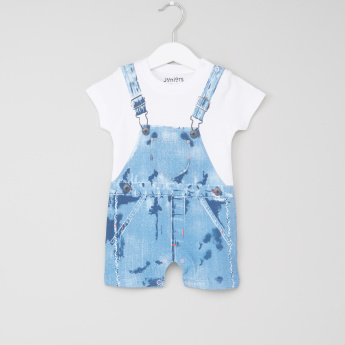 Juniors Printed Short Sleeves Romper