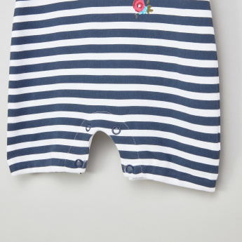 Juniors Striped Short Sleeves Romper