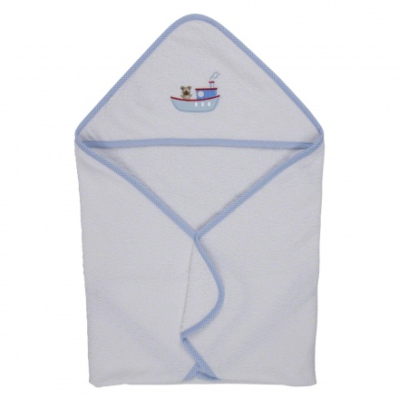 Juniors Bear in Boat Hooded Towel