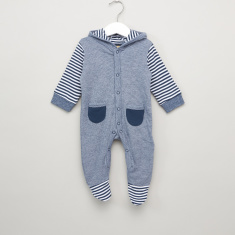 Juniors Striped Closed Feet Hooded Sleepsuit