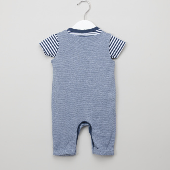 Juniors Striped T-Shirt with Sleeveless Dungarees