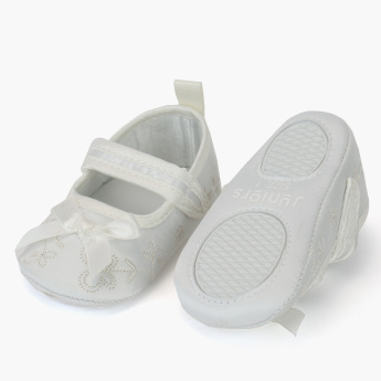 Juniors Textured Booties with Bow Detail and Hook and Loop Closure