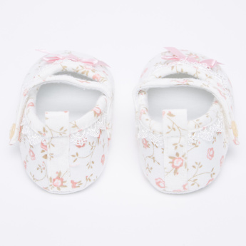 Juniors Printed Booties with Bow Applique and Lace Detail