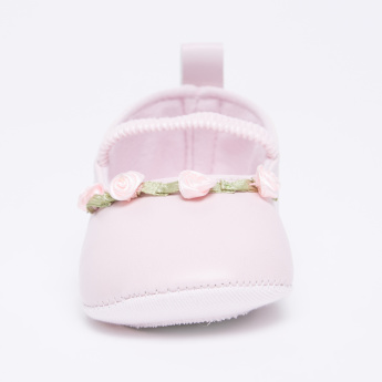 Juniors Booties with Floral Applique and Elasticised Strap
