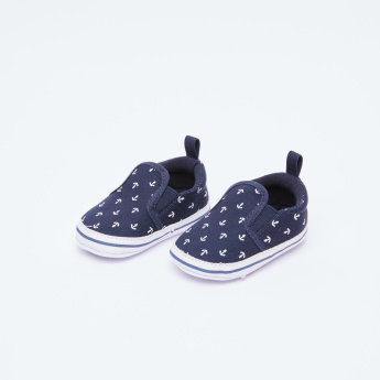 Juniors Printed Slip-On Shoes with Elasticised Gussets