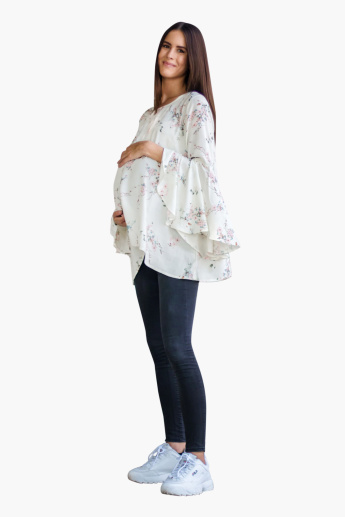 Blush Maternity Floral Printed Top with Bell Sleeves and Round Neck