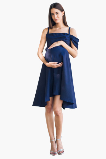 Blush Maternity Solid Cold Shoulder Midi Drape Dress with Boat Neck