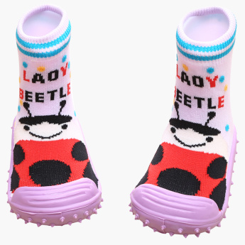 Cool Gripper Lady Beetle Printed Baby Shoes